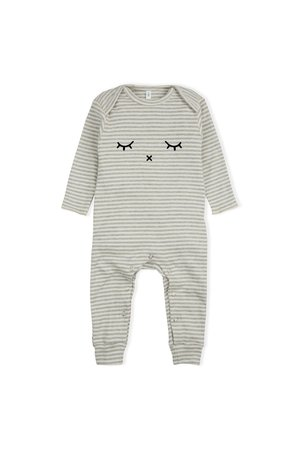 Organic Zoo Playsuit 'sleepy' grey stripes