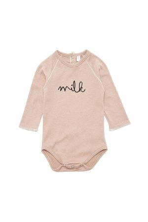 Organic Zoo Bodysuit 'milk' clay