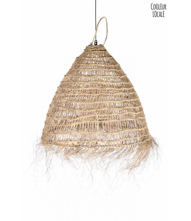 Natural hanging lamp with fringes 'Bonnet'