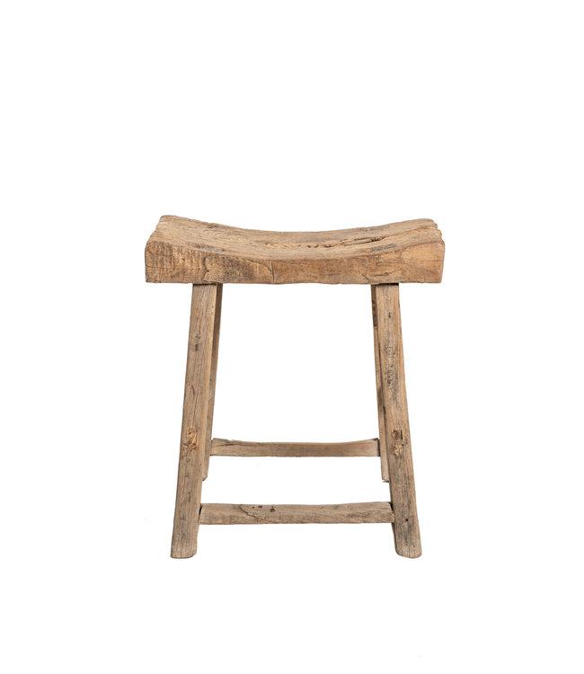 Elm wood antique saddle stool