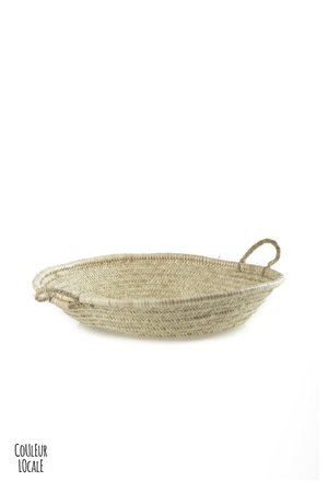 Couleur Locale Flat woven basket with handles