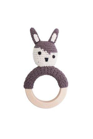Sebra Crochet rattle, Siggy the rabbit, soil brown