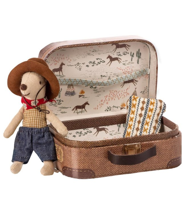 Maileg Cowboy mouse in suitcase, little brother mouse