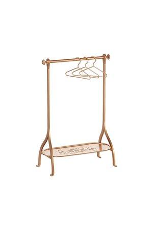 Maileg Medium clothes rack  incl. 3 hangers - gold