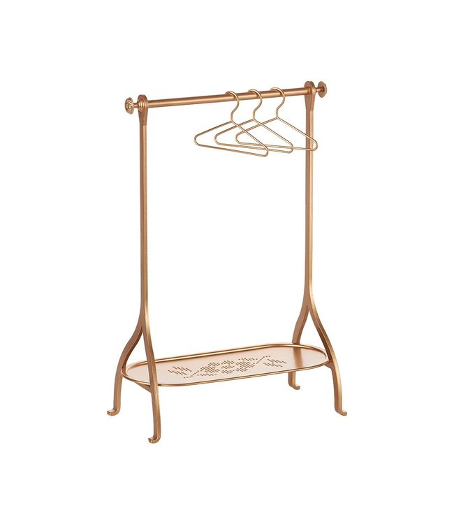 Maileg Medium clothes rack  incl. 3 hangers - gold