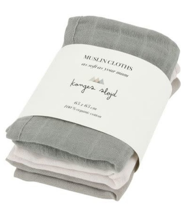 3 pack muslin cloths - lime stone
