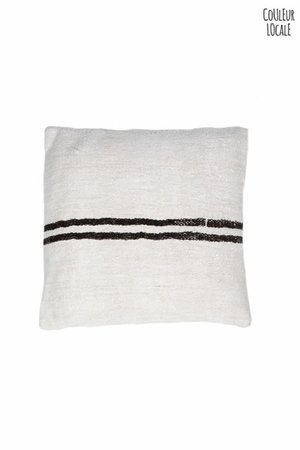 Kilim cushion - ecru with brown stripes  - Turkey