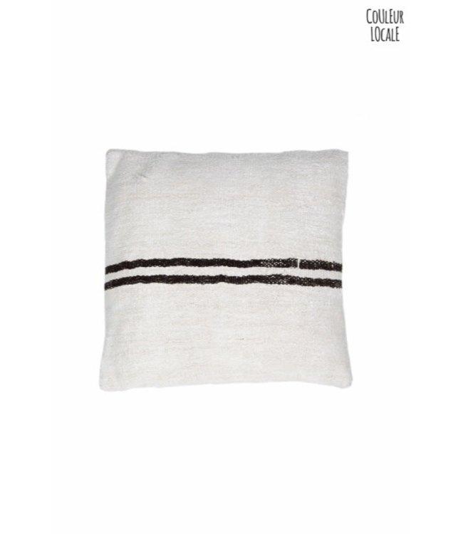 Kilim cushion - ecru with brown stripes  - Turkey