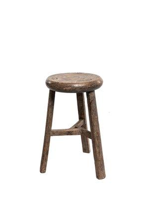 Elm wood antique stool round #1