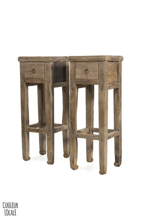 Set small sidetables elm wood