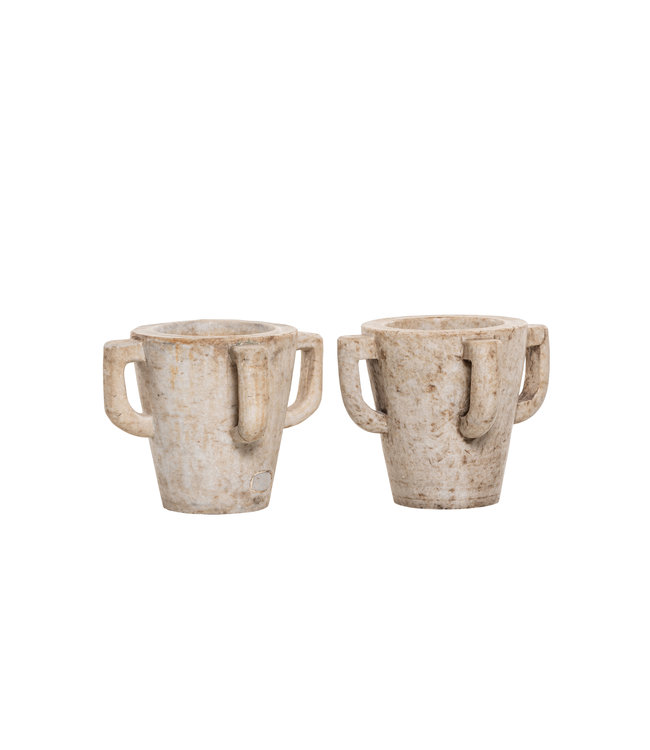 Pair of old Indian medicine mortars - marble