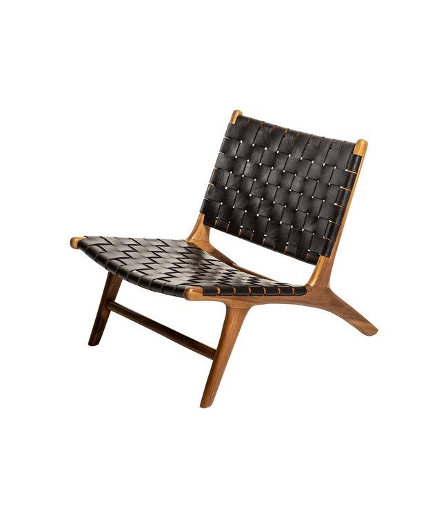 Boro  lounge stoel -  medium teak - donkerbruin leder