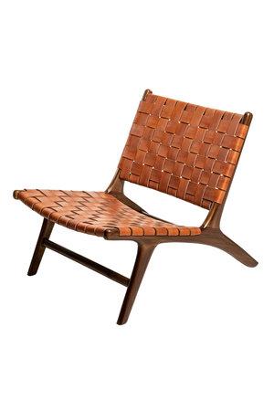 Boro lounge chair -  vintage leather & honey teak