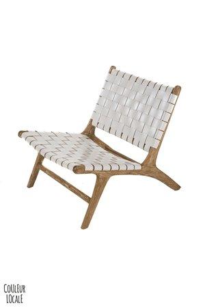 Boro lounge chair -  white leather & white wash teak