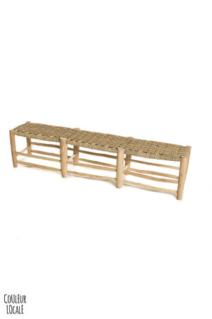 Couleur Locale Trio-seat bench in palm leaf-wood