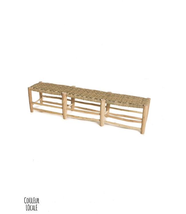Trio-seat bench in palm leaf-wood