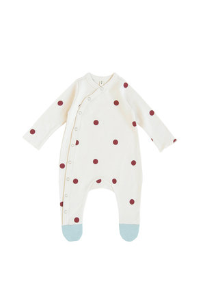 Organic Zoo Onesie 'dots' burgundy with contrast feet
