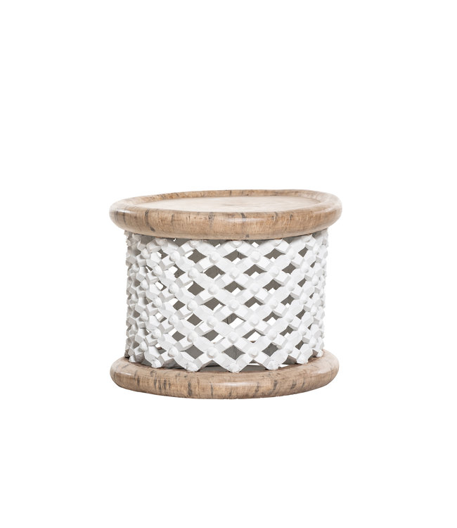 Bamileke bijzettafel wit/naturel Ø60cm