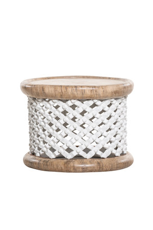 Bamileke coffeetable white/natural Ø55cm