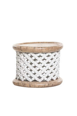 Bamileke coffeetable white/natural Ø50cm