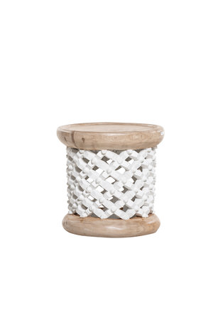 Bamileke coffeetable white/natural  Ø40cm