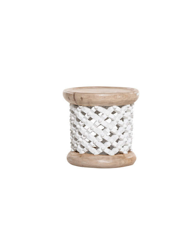 Bamileke coffeetable white/natural  Ø40cm