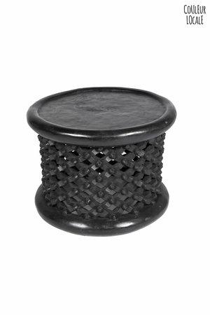 Bamileke bijzettafel zwart Ø45cm