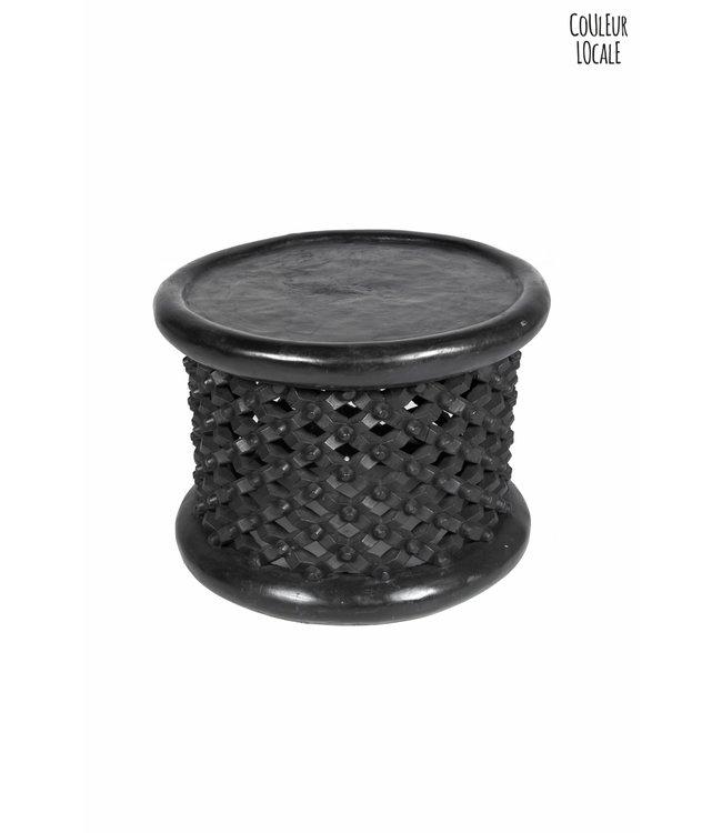Bamileke bijzettafel zwart  Ø50cm