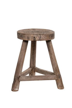 Elm wood antique stool round #2