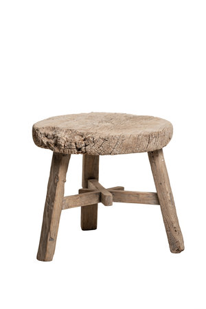 Round coffee table weathered elm wood