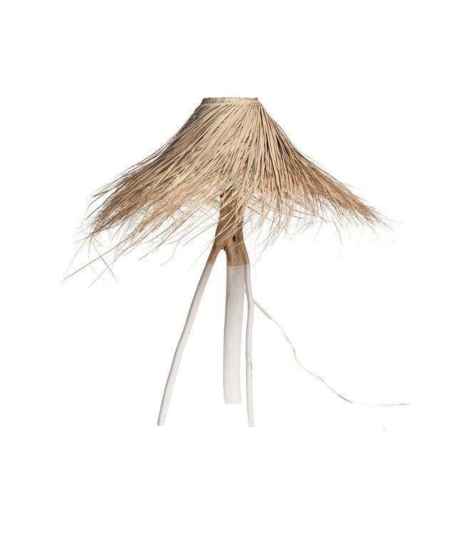Palm table lamp 'Tak' - white/natural