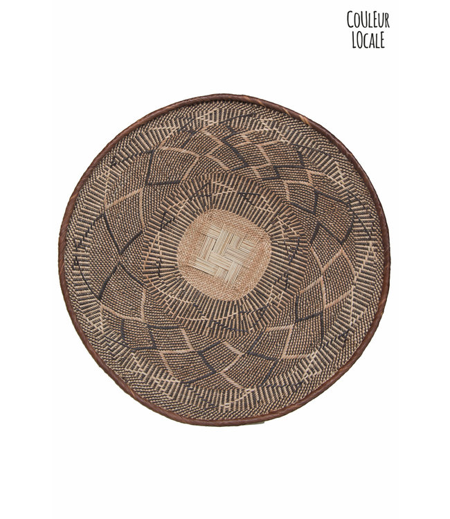 Binga basket brown border - Ø70-80cm