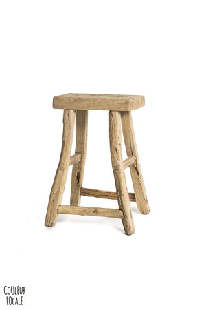Elm wood antique stool rectangular