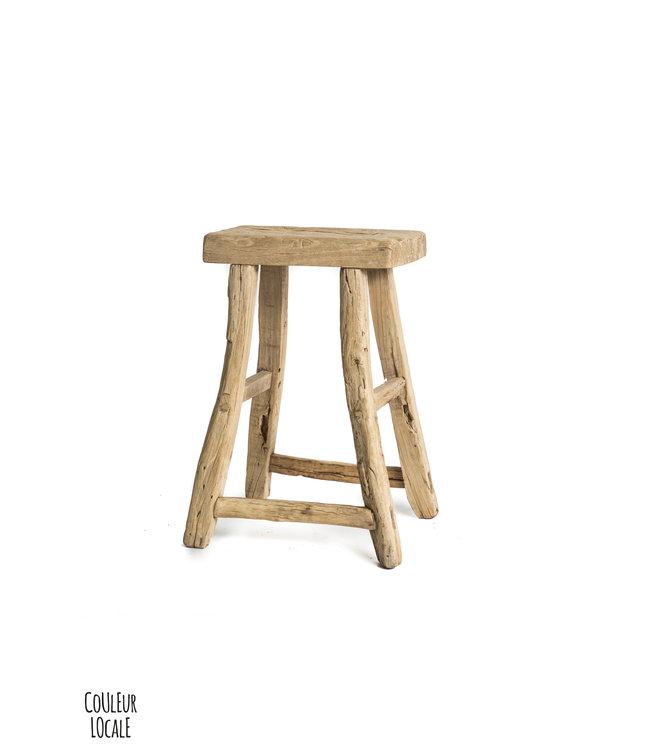 Elm wood antique stool rectangular