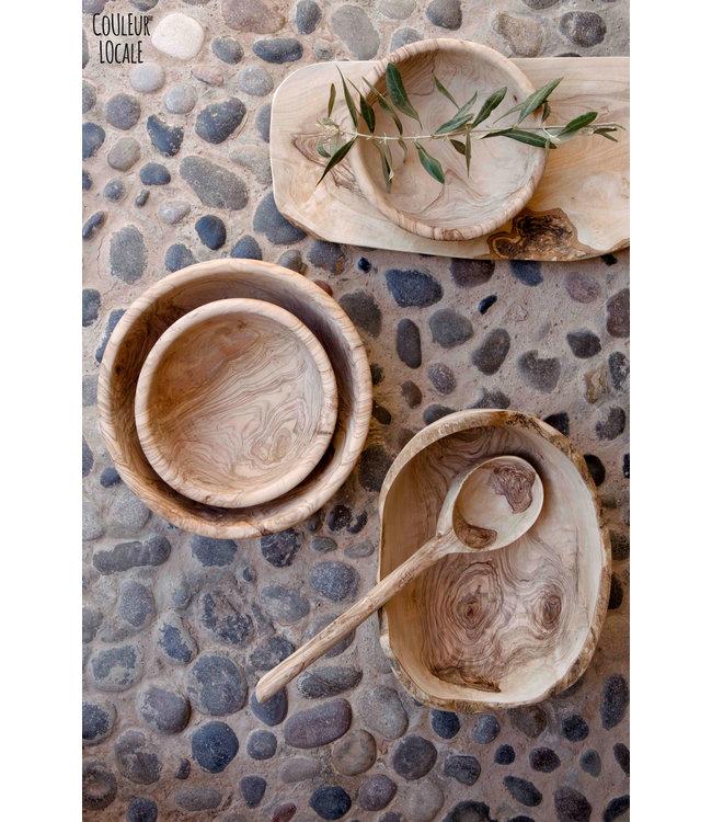Salad bowl rustique round - olive wood