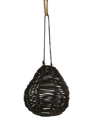 Peervormige hanglamp zwart leder