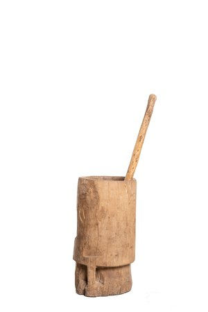 Couleur Locale Old wooden mortar & pestle #4