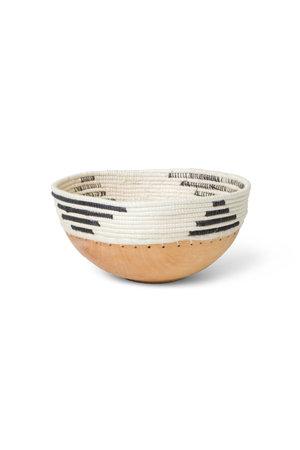 Black & white patterned wooden bowl