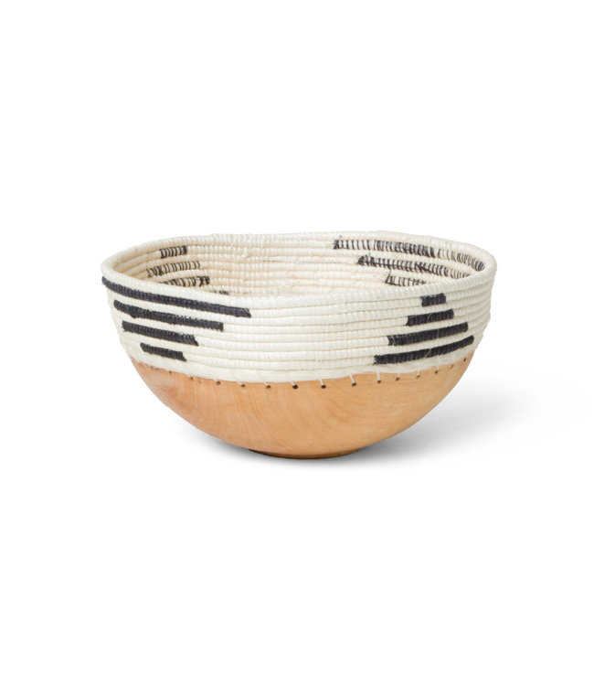 Black & white patterned wooden bowl