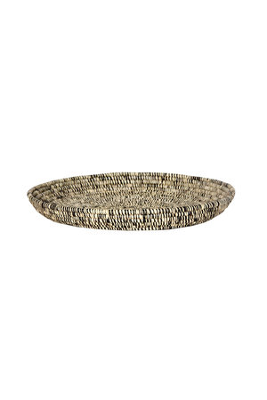 Heathered black round raffia tray