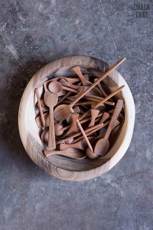 Vierkant schepje - abrikoos hout
