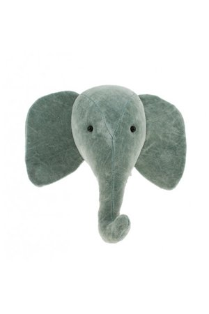 Fiona Walker England Dierenhoofd mini fluweel - olifant mint grey