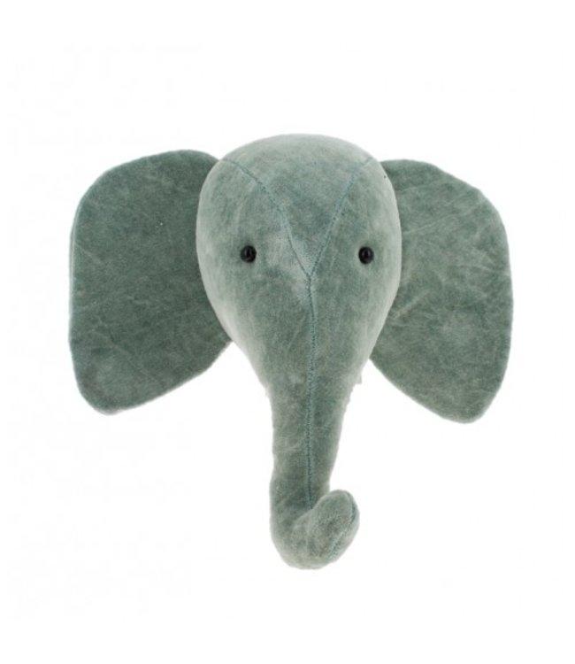 Animal head mini velvet - elephant mint grey