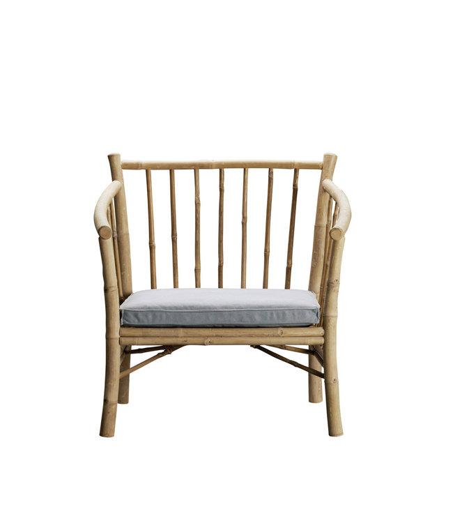 Bamboe new lounge stoel met grijze matras