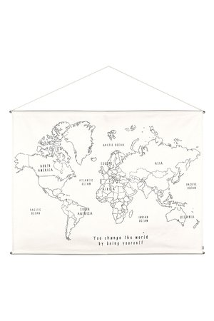 Numero 74 World map borduur poster kit