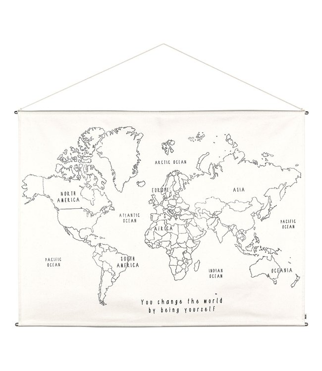 Numero 74 World map embroidery poster kit