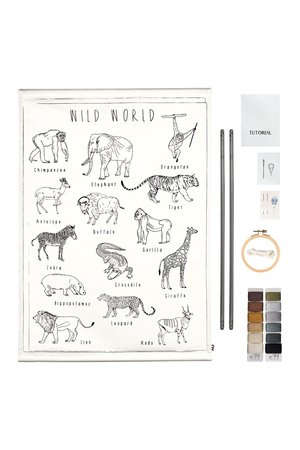 Numero 74 School poster borduur kit - wild animals