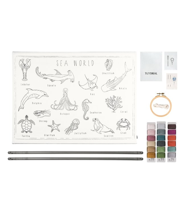 Numero 74 School poster borduur kit - sea world