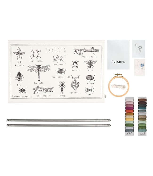School poster embroidery kit - insects