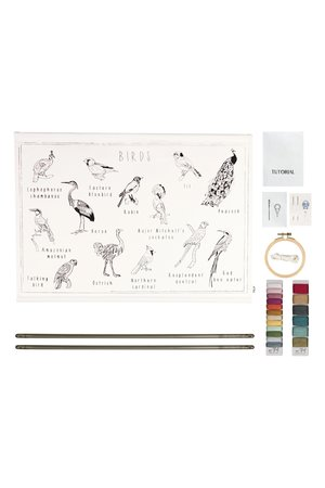 Numero 74 School poster borduur kit - birds